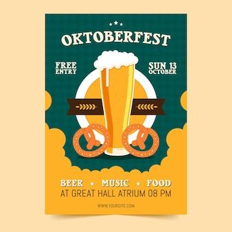Platte ontwerp oktoberfest poster sjabloon