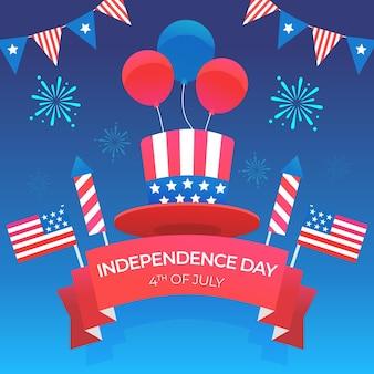 Platte ontwerp onafhankelijkheidsdag illustratie