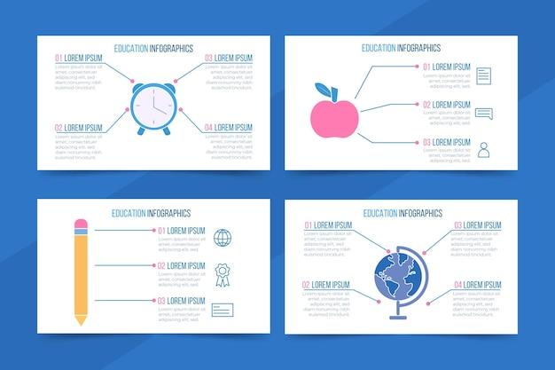 Platte ontwerp onderwijs infographics