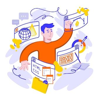 Platte ontwerp online cursussen illustratie