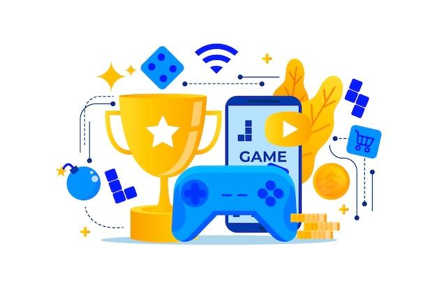 Platte ontwerp online games concept