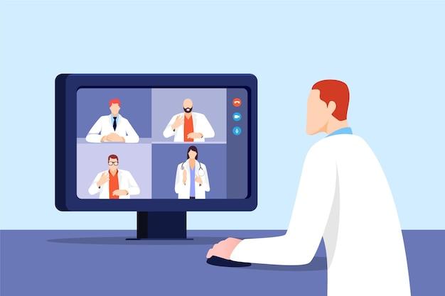 Platte ontwerp online medische conferentie