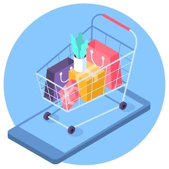 Platte ontwerp online mobiel winkelen isometrisch concept trendy kleur icoon van supermarkt kar met boodschappentassen geschenken en dozen over het scherm van mobiele gadget geïsoleerd op blauwe achtergrond