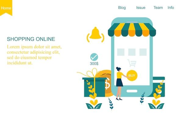Platte ontwerp online winkel concept