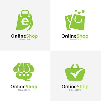 Platte ontwerp online winkel logo-collectie