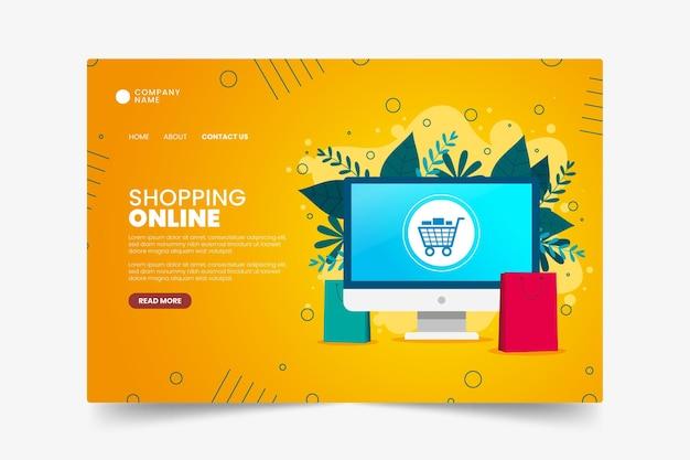 Platte ontwerp online winkelen bestemmingspagina sjabloon