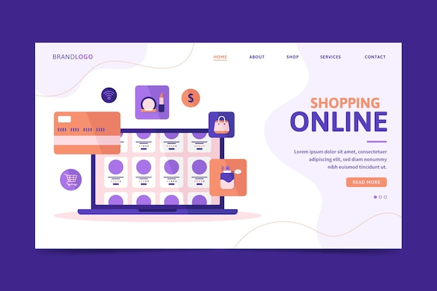 Platte ontwerp online winkelen bestemmingspagina