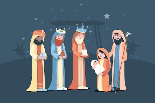 Platte ontwerp openbaring met kerststal