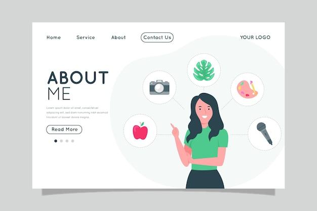 Platte ontwerp over mij websjabloon geïllustreerd