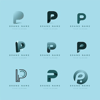 Platte ontwerp p logo's collectie