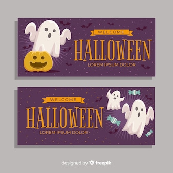 Platte ontwerp paarse halloween banners