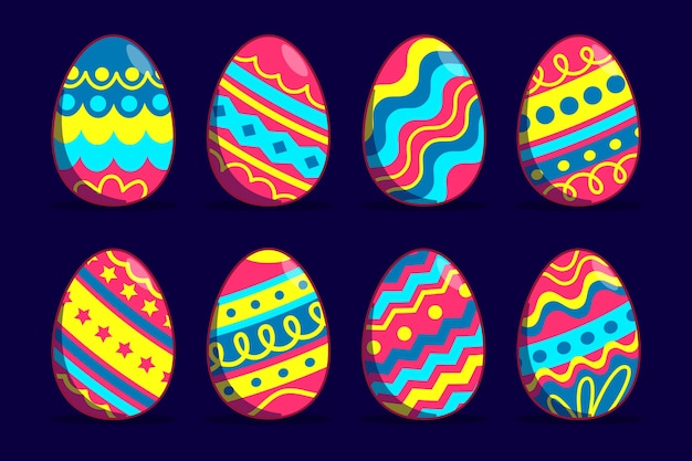 Platte ontwerp paasdag eieren met levendig gekleurde lijnen