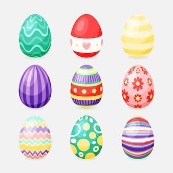 Platte ontwerp paasdag eieren met lijnen en bloemen