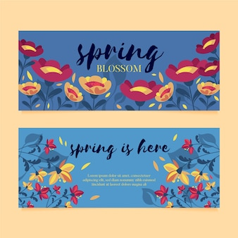 Platte ontwerp pack lente verkoop banners