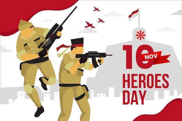 Platte ontwerp pahlawan dag