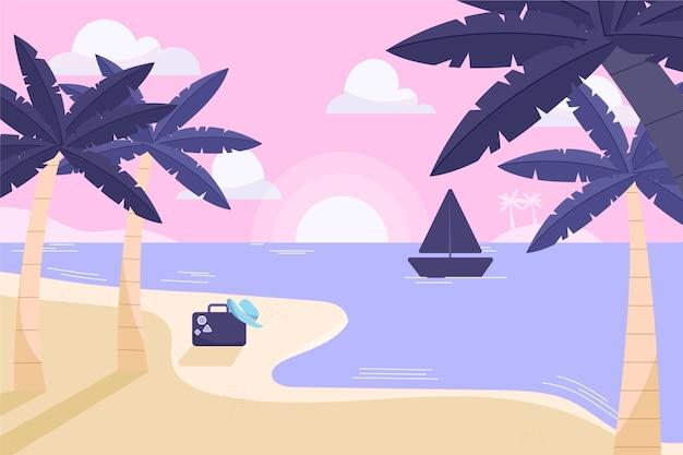 Platte ontwerp palmen met boot op water achtergrond