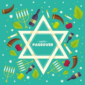 Platte ontwerp pascha-evenement met joods symbool