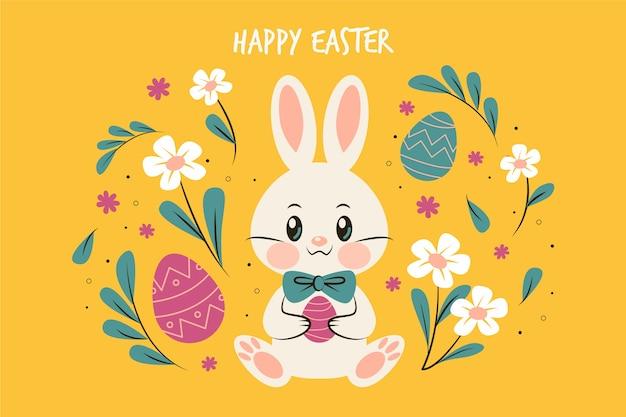 Platte ontwerp pasen dag bunny omringd door bloemen
