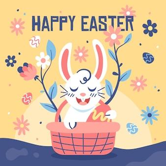 Platte ontwerp pasen dag smiley konijntje in een mand