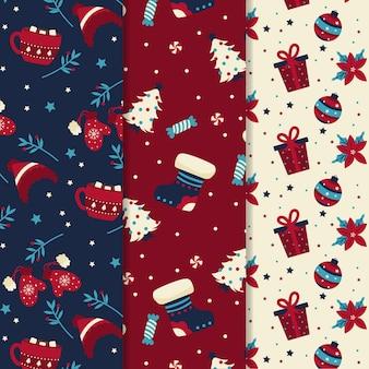 Platte ontwerp patroon kerstcollecte