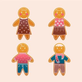 Platte ontwerp peperkoek man cookie-set Gratis Vector