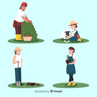 Platte ontwerp personages agrarische werknemers activiteiten
