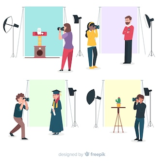 Platte ontwerp personages fotografen die in studio's werken
