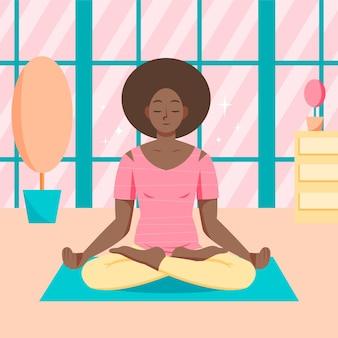 Platte ontwerp persoon mediteren Gratis Vector