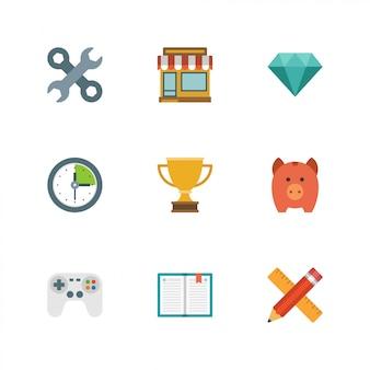 Platte ontwerp pictogrammen
