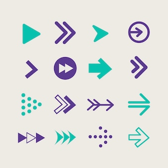 Platte ontwerp pijl collectie Gratis Vector