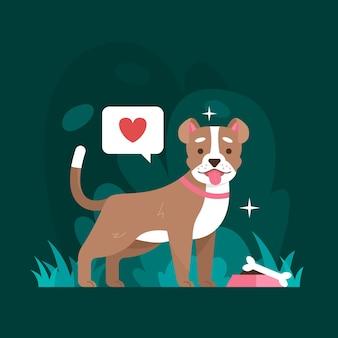 Platte ontwerp pitbull illustratie