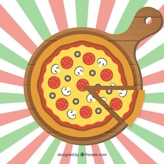 Platte ontwerp pizza achtergrond