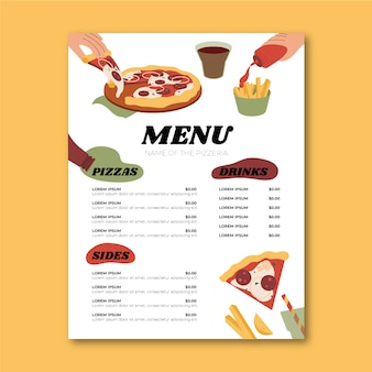 Platte ontwerp pizza restaurant menusjabloon