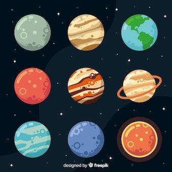 Platte ontwerp planeet collectie