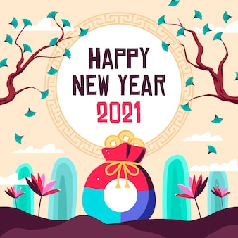 Platte ontwerp portemonnee koreaans nieuwjaar