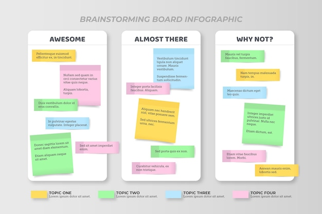 Platte ontwerp post-its boards infographics