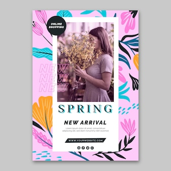 Platte ontwerp poster lente verkoop sjabloon
