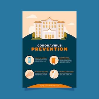 Platte ontwerp poster voor coronaviruspreventie voor hotels