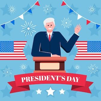 Platte ontwerp president dag evenement promo met smiley man geïllustreerd