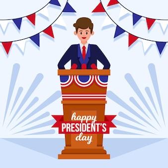 Platte ontwerp president dag illustratie