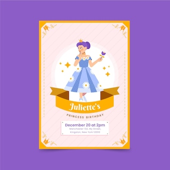 Platte ontwerp prinses verjaardagsuitnodiging