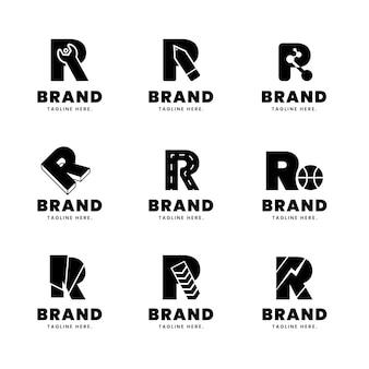 Platte ontwerp r logo collectie