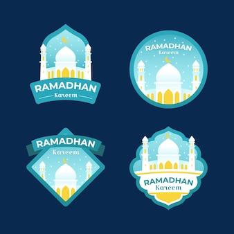 Platte ontwerp ramadan badge-collectie
