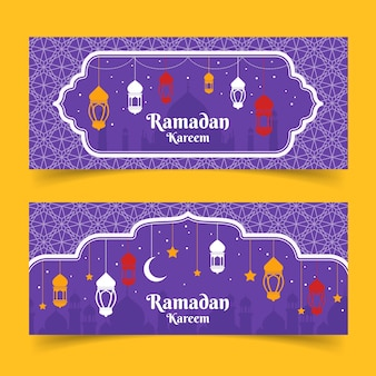 Platte ontwerp ramadan banner collectie