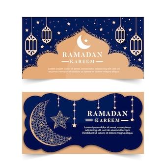 Platte ontwerp ramadan banners concept
