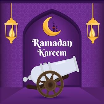 Platte ontwerp ramadan evenement concept