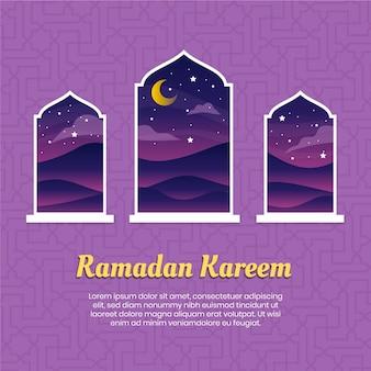 Platte ontwerp ramadan evenement thema