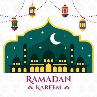 Platte ontwerp ramadan evenement viering