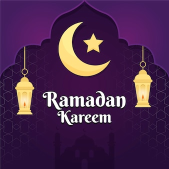 Platte ontwerp ramadan evenementstijl