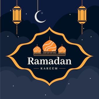 Platte ontwerp ramadan kareem afbeelding
